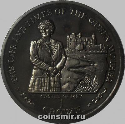 1 крона 2002 остров Мэн. Жизнь Королевы-матери. Замок Мэй.