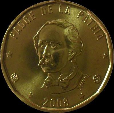 1 песо 2008 Доминиканская республика.