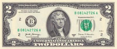 2 доллара 2017 В США.