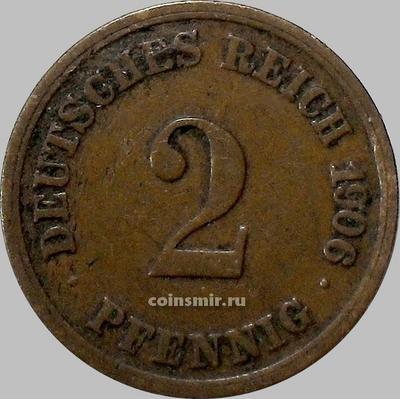 2 пфеннига 1906 F Германия.