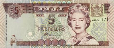 5 долларов 2002 Фиджи.