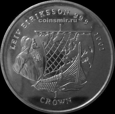 1 крона 1997 остров Мэн.  Лейф Эрикссон.