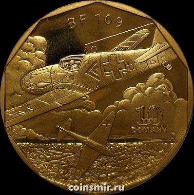 10 долларов 1991 Маршалловы острова. Немецкий истребитель Messerschmitt Bf.109