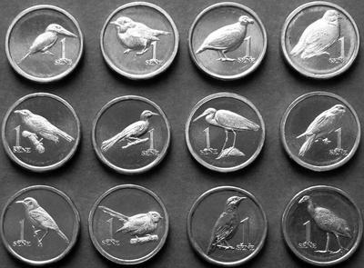 Набор из 12 монет 2020 Самоа. Птицы.