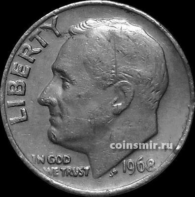 10 центов (1 дайм) 1968 США.