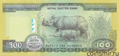 100 рупий 2015 Непал. Носорог.
