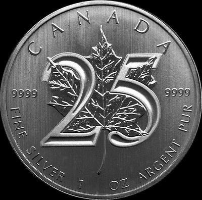 5 долларов 2013 Канада. Кленовый лист-25 лет.