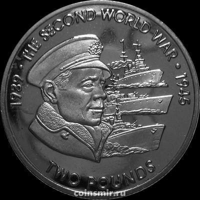2 фунта 2019 Британская территория в Индийском океане. Вторая мировая война. Флот.