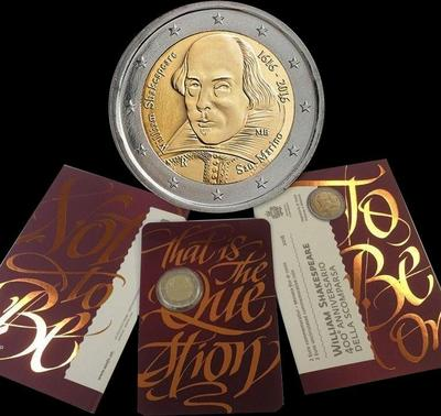 2 евро 2016 Сан-Марино. Уильям Шекспир.