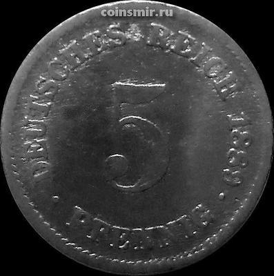 5 пфеннигов 1889 D Германия.