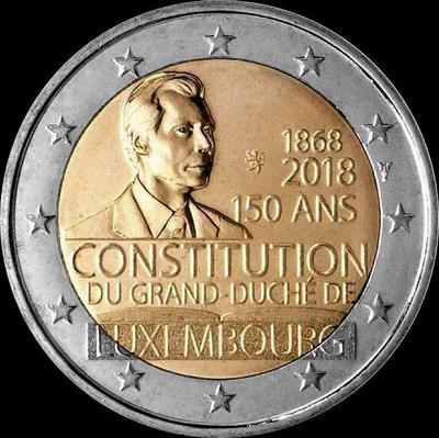 2 евро 2018 Люксембург. 150-летие Конституции Люксембурга.