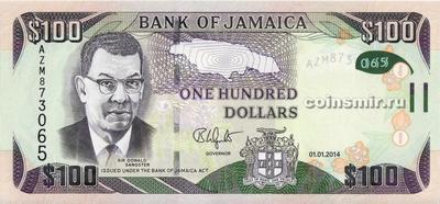 100 долларов 2014 Ямайка.