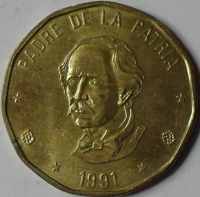 1 песо 1991 Доминиканская республика.