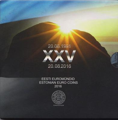 Набор евро монет 2016 Эстония. Буклет. 25 лет независимости.