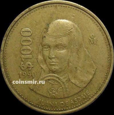 1000 песо 1990 Мексика.