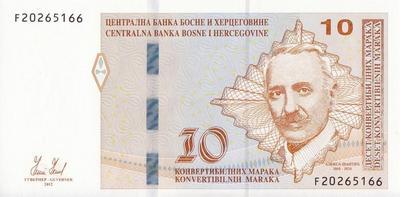 10 конвертируемых марок 2012 Босния и Герцеговина. Портрет А.Шанти.