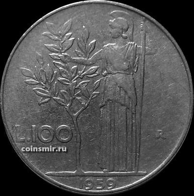 100 лир 1959 Италия. Богиня мудрости рядом с оливковым деревом.