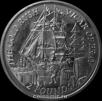 2 фунта 2000 Фолклендские острова. Золотая Лихорадка — корабль Викарий из Брэя.