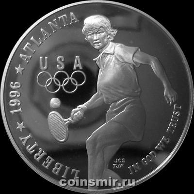1 доллар 1996 Р США. Олимпиада в Атланте 1996. Теннис.