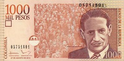 1000 песо 2014 Колумбия.