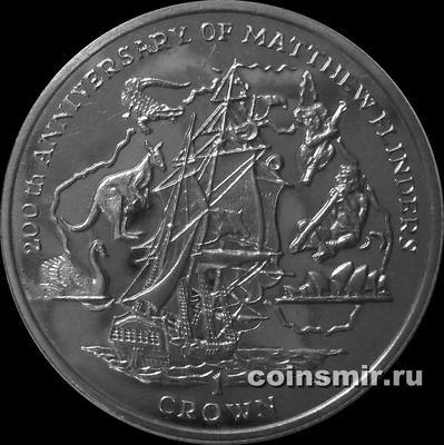 1 крона 2014 остров Мэн. 200-летие со дня смерти Мэтью Флиндерса.