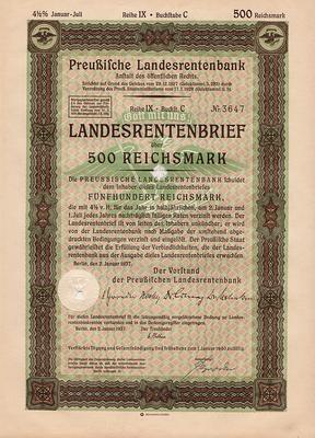 Облигация 4,5% 500 рейхсмарок 2.01.1937 Германия. Третий рейх.