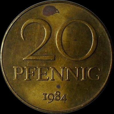 20 пфеннигов 1984 А Германия (ГДР).