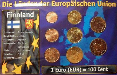 Набор евро монет  Финляндия. Блистер.