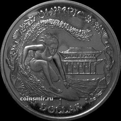 1 доллар 2019 Британские Виргинские острова. Серфинг. Олимпиада в Токио 2020.
