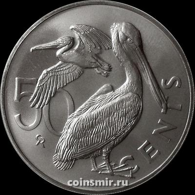 50 центов 1973 Британские Виргинские острова. Коричневый пеликан.