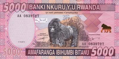 5000 франков 2014 Руанда.