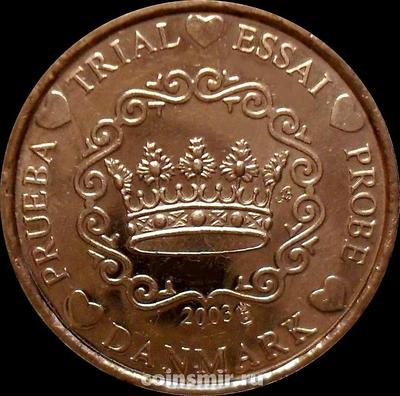 2 евроцента 2002 Дания. Европроба. Specimen.