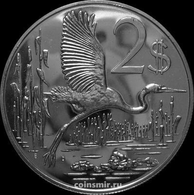 2 доллара 1972 Каймановы острова. Большая голубая цапля.
