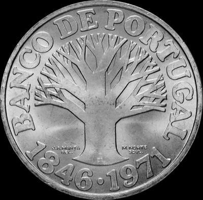 50 эскудо 1971 Португалия.  125 лет банку Португалии.