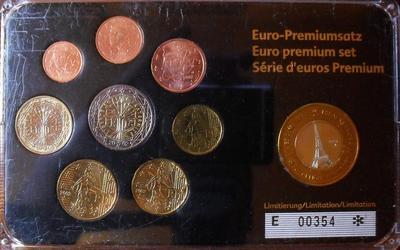 Набор евро монет 2000-2004 + 1 евро 1997 (проба Specimen) Франция. Пластик.
