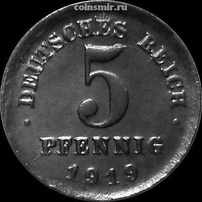 5 пфеннигов 1919 D Германия.