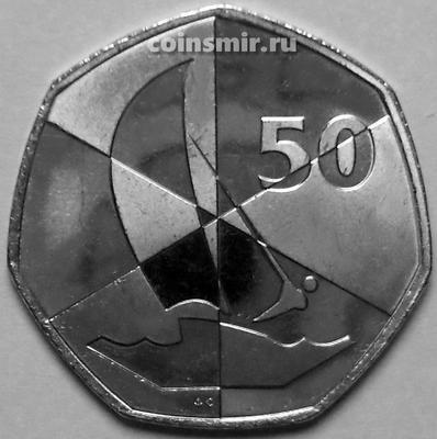 50 пенсов 2019 АС Гибралтар. Островные игры. Парусный спорт.
