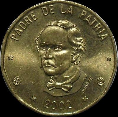 1 песо 2002 Доминиканская республика.