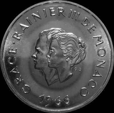 10 франков 1966 Монако. 10 лет свадьбе Ренье III.