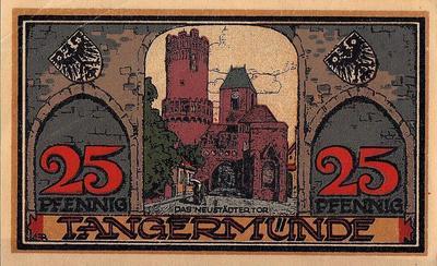 25 пфеннигов 1921 Германия г. Тангермюнде. Нотгельд.
