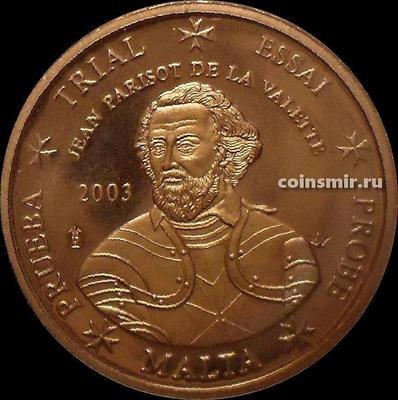 2 евроцента 2003 Мальта. Жан Паризо де ла Валетт. Европроба. Specimen.
