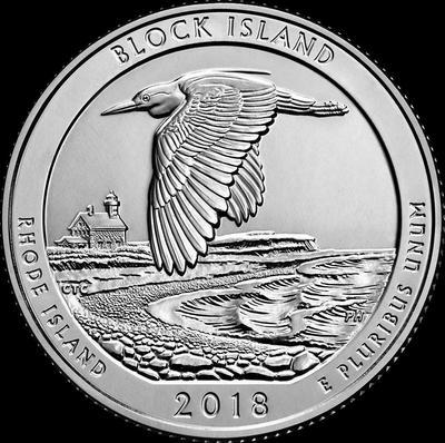 25 центов 2018 S США. Национальное убежище дикой природы острова Блок. (Род-Айленд) 45-й.