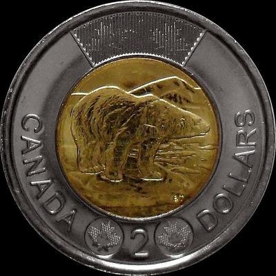2 доллара 2013 Канада. Белый медведь.