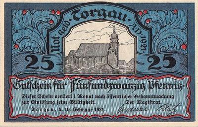 25 пфеннигов 1921 Германия г.Торгау (Саксония). Нотгельд.