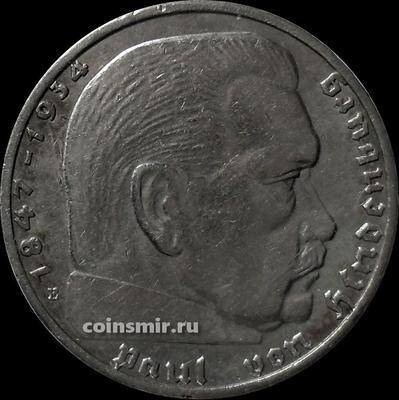 2 марки 1936 Е Германия. Гинденбург. Третий Рейх.