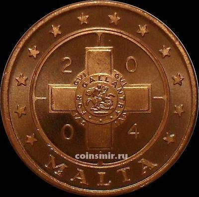 2 евроцента 2004 Мальта. Мальтийский крест. Европроба.