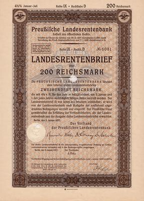 Облигация 4,5% 200 рейхсмарок 2.01.1937 Германия. Третий рейх.