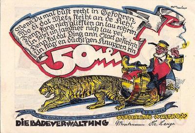 50 пфеннигов 1921 Германия. г.Вустров (Мекленбург-Штрелиц). Нотгельд.