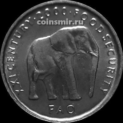 5 шиллингов 2000 Сомали. ФАО. Слон.