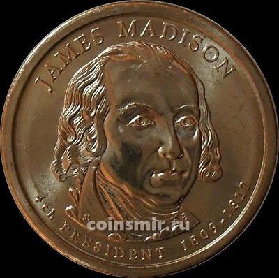 1 доллар 2007 D США. 4-й президент США Джеймс Мэдисон.